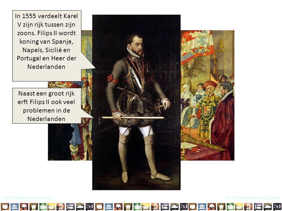 In 1555 verdeelt Karel V zijn rijk tussen zijn zoons