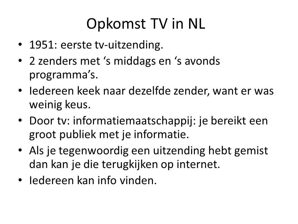 Opkomst TV in NL 1951: eerste tv-uitzending.