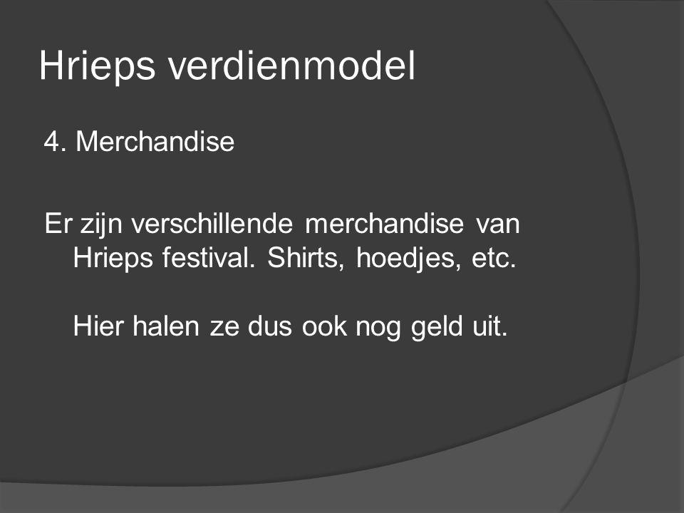 Hrieps verdienmodel 4. Merchandise Er zijn verschillende merchandise van Hrieps festival.