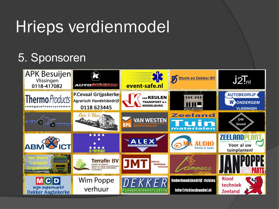Hrieps verdienmodel 5. Sponsoren