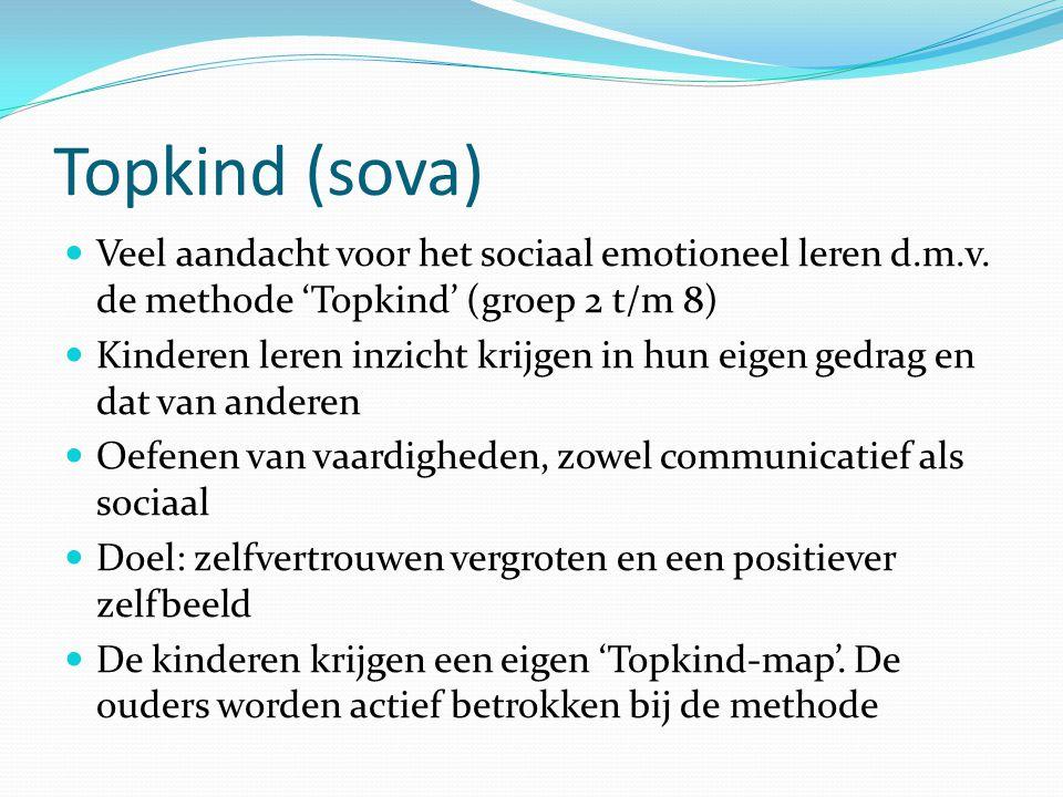 Topkind (sova) Veel aandacht voor het sociaal emotioneel leren d.m.v. de methode 'Topkind' (groep 2 t/m 8)