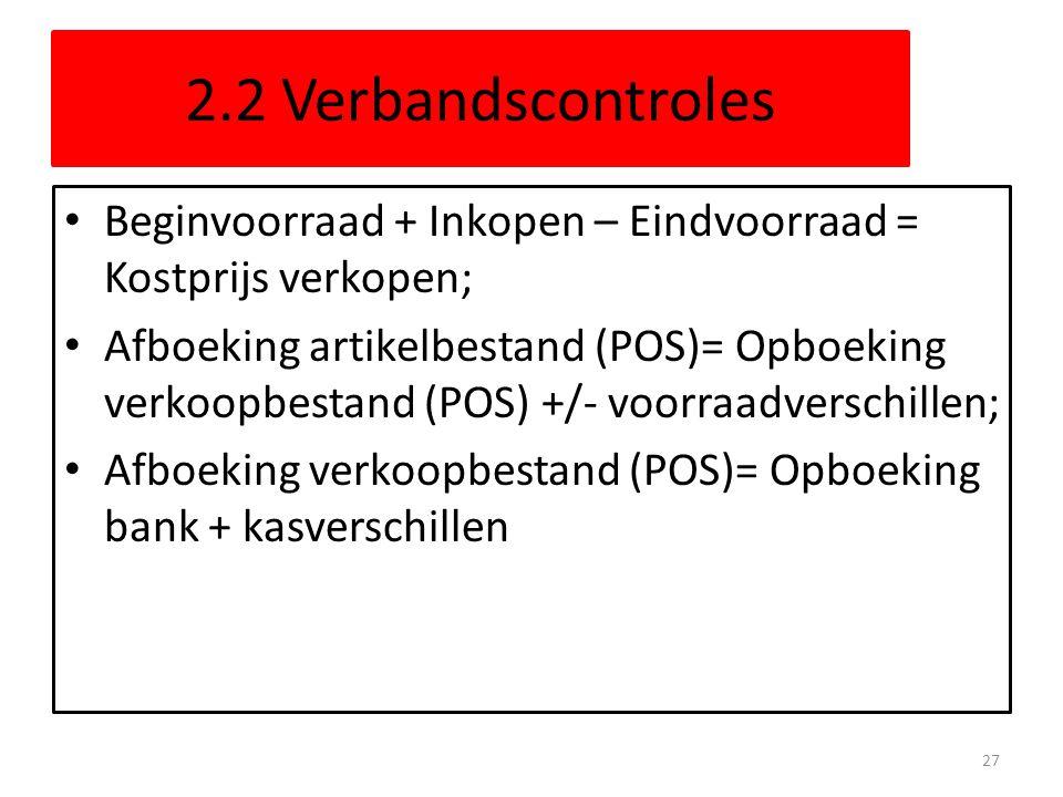 2.2 Verbandscontroles Beginvoorraad + Inkopen – Eindvoorraad = Kostprijs verkopen;