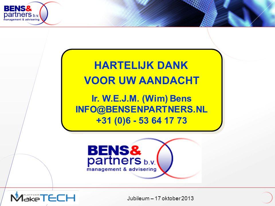 VOOR UW AANDACHT Ir. W.E.J.M. (Wim) Bens INFO@BENSENPARTNERS.NL