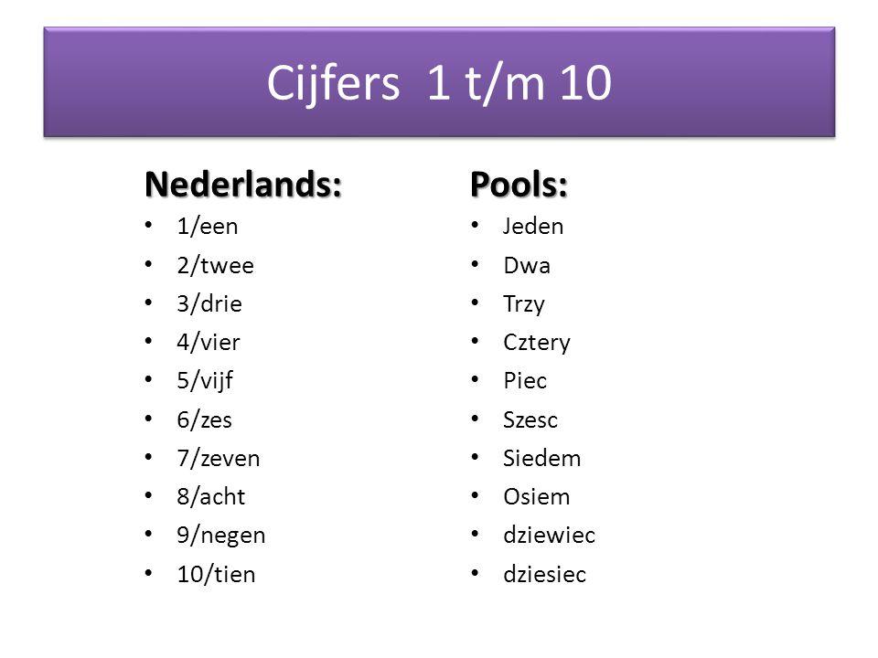 Cijfers 1 t/m 10 Nederlands: Pools: 1/een Jeden 2/twee Dwa 3/drie Trzy
