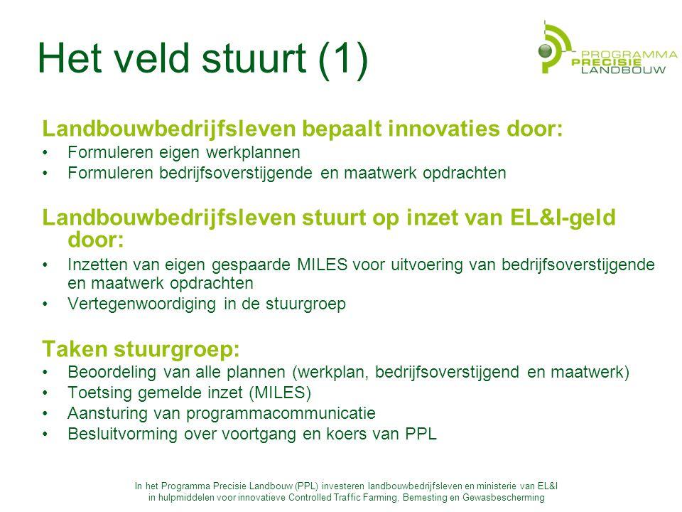 Het veld stuurt (1) Landbouwbedrijfsleven bepaalt innovaties door: