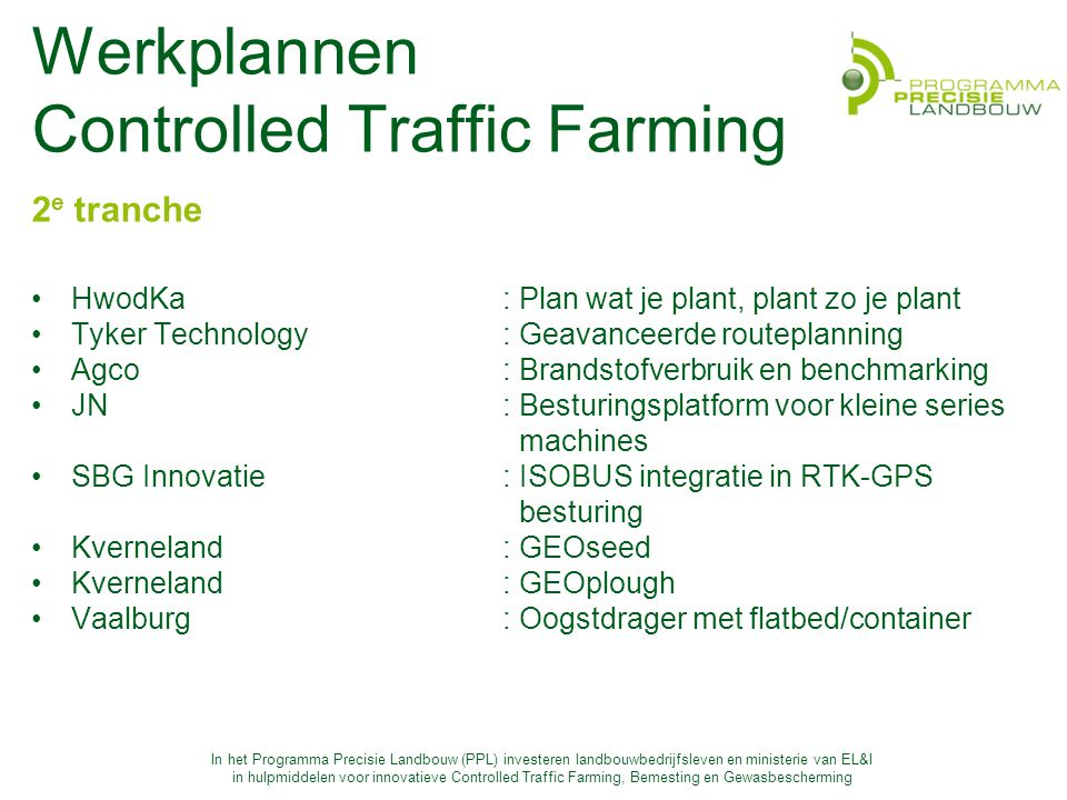 Werkplannen Controlled Traffic Farming