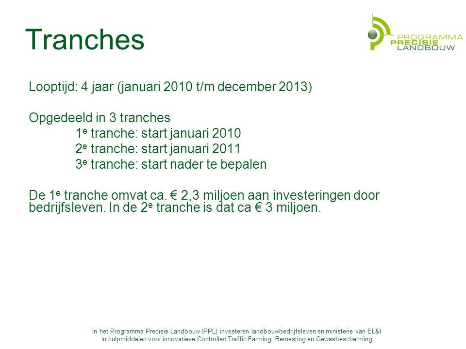 Tranches Looptijd: 4 jaar (januari 2010 t/m december 2013)