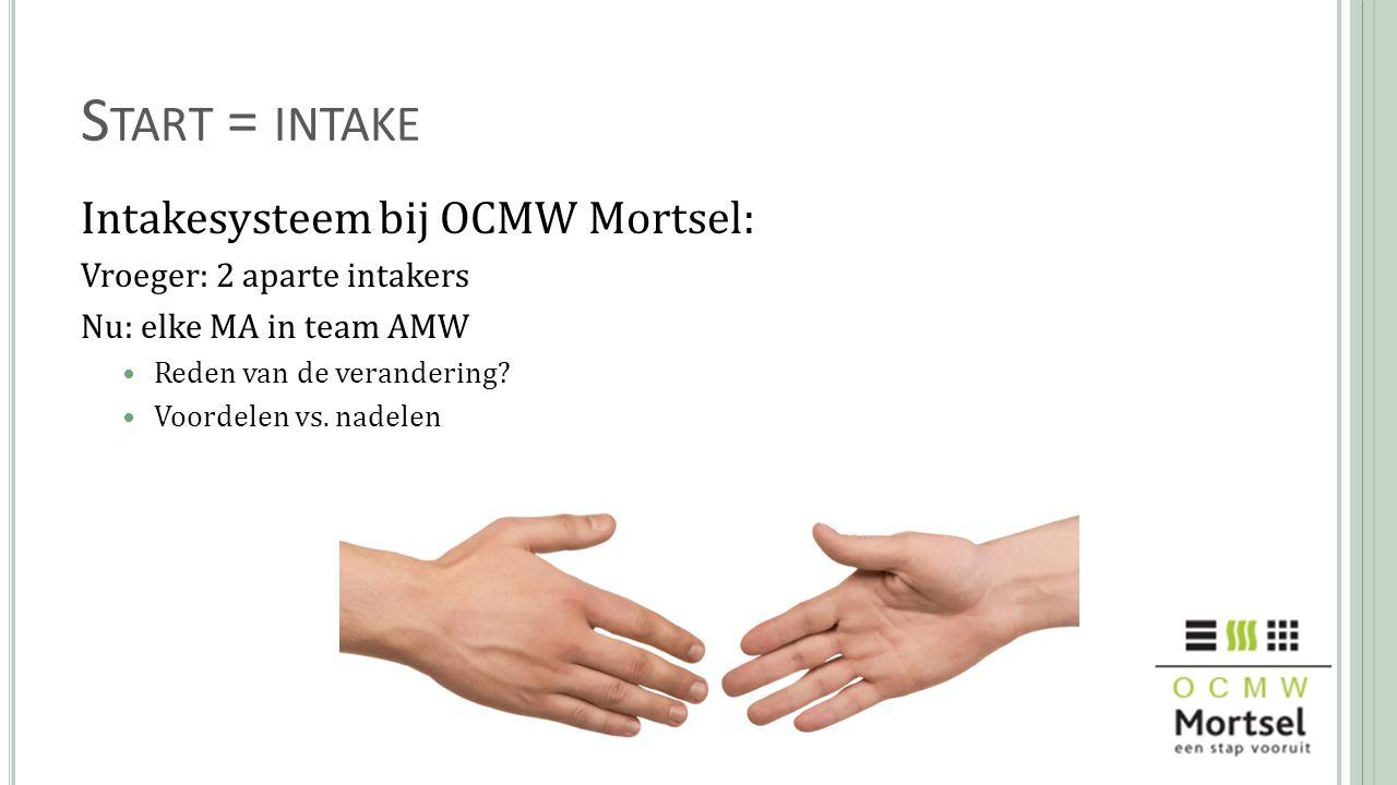Start = intake Intakesysteem bij OCMW Mortsel: