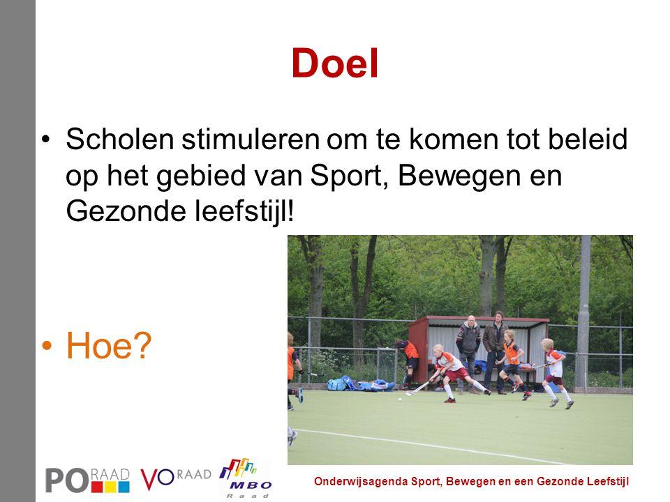 Doel Scholen stimuleren om te komen tot beleid op het gebied van Sport, Bewegen en Gezonde leefstijl!
