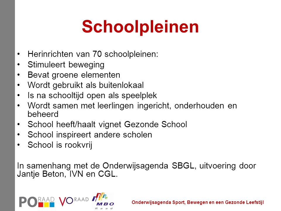 Schoolpleinen Herinrichten van 70 schoolpleinen: Stimuleert beweging