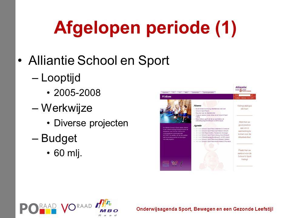 Afgelopen periode (1) Alliantie School en Sport Looptijd Werkwijze