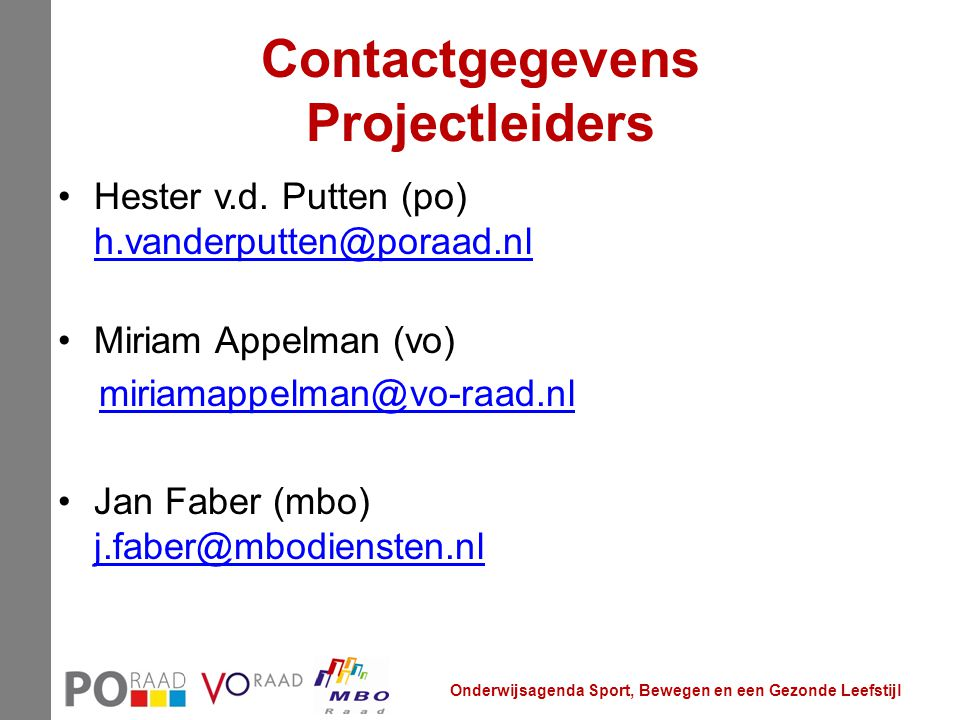 Contactgegevens Projectleiders