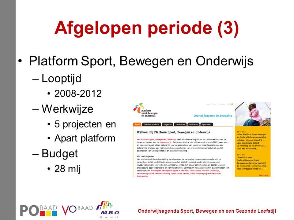 Afgelopen periode (3) Platform Sport, Bewegen en Onderwijs Looptijd