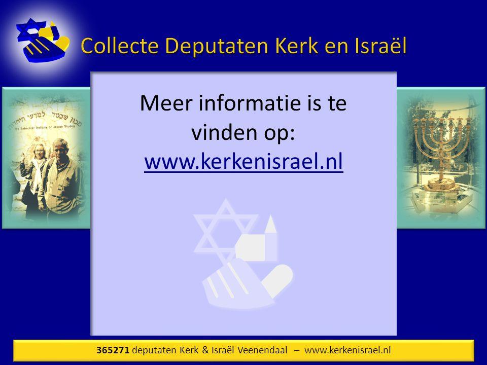 Meer informatie is te vinden op: www.kerkenisrael.nl
