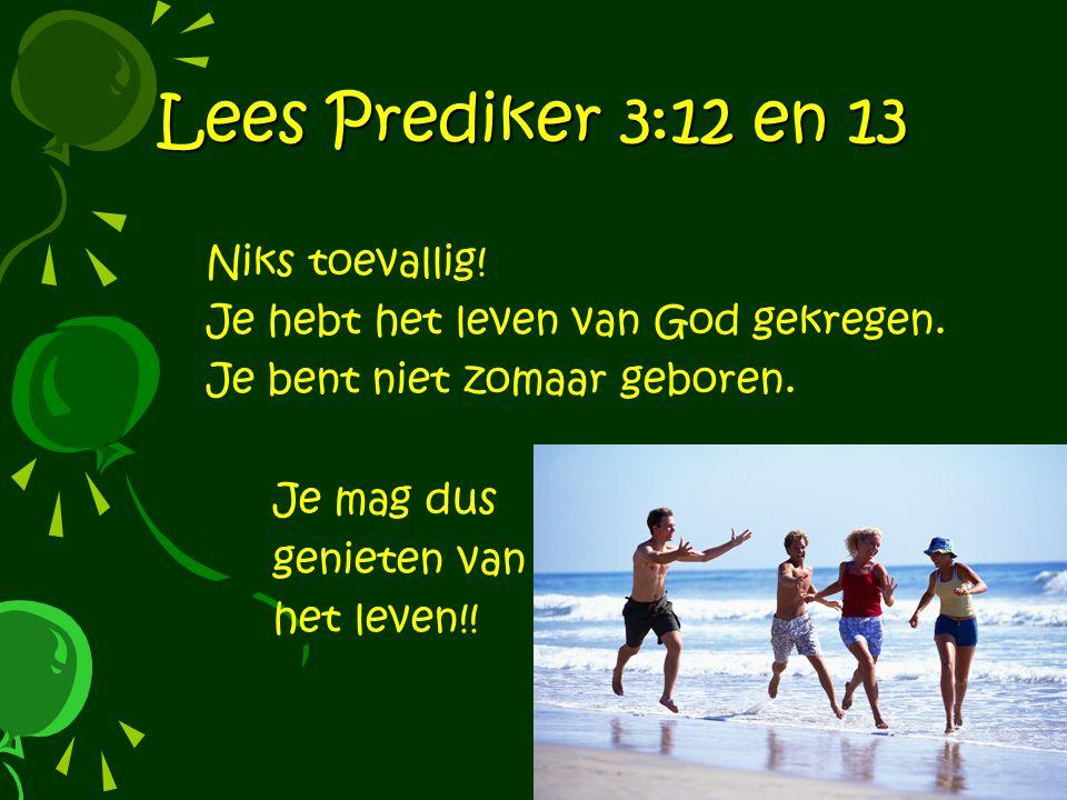 Lees Prediker 3:12 en 13 Niks toevallig!
