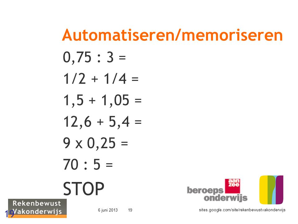 Automatiseren/memoriseren