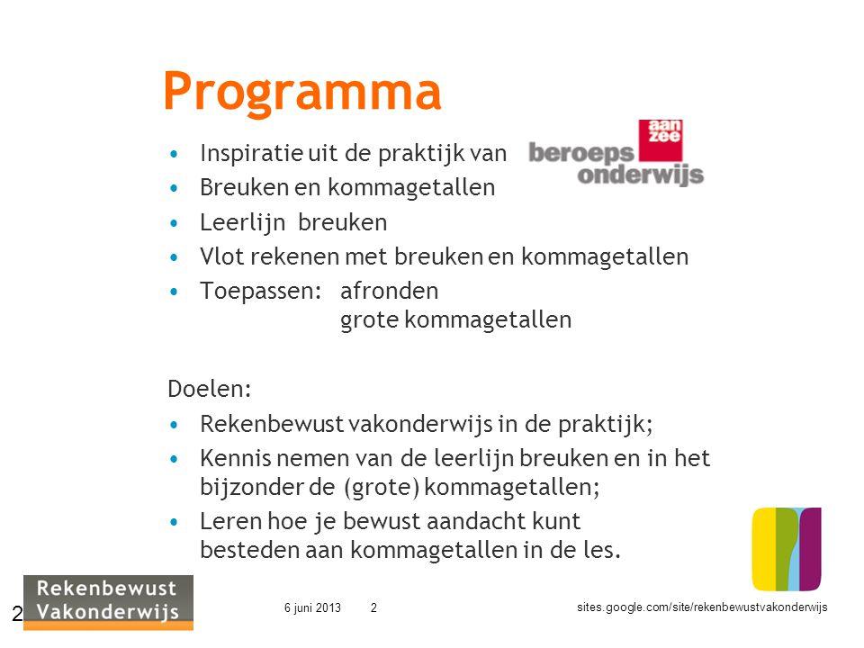 Programma Inspiratie uit de praktijk van Breuken en kommagetallen