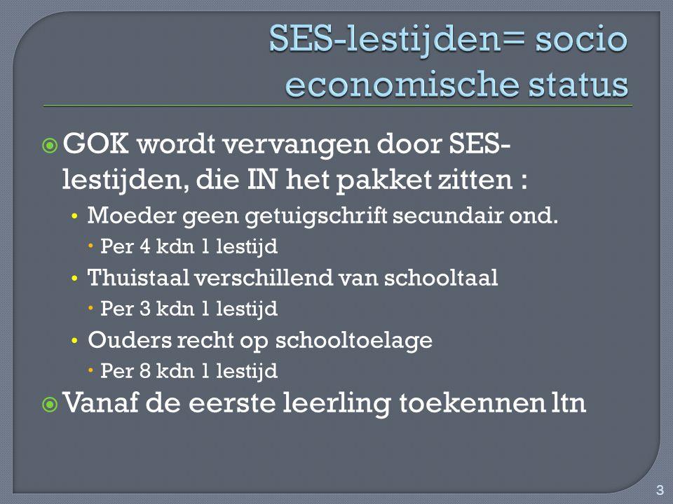 SES-lestijden= socio economische status