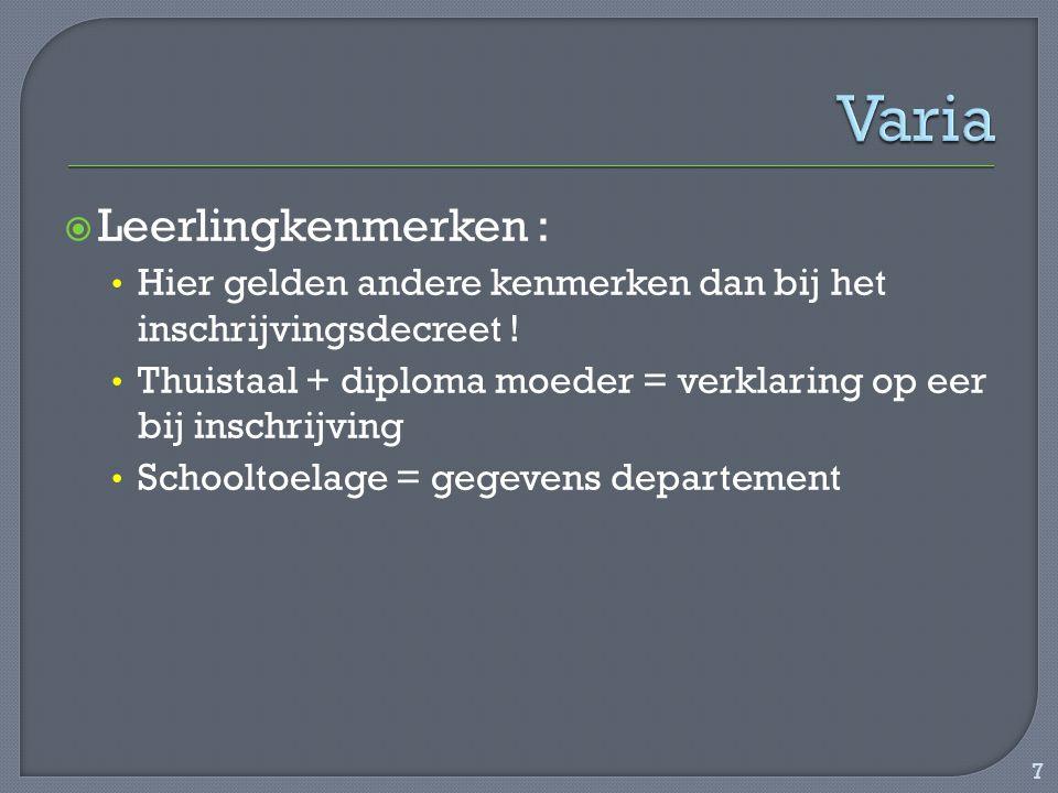 Varia Leerlingkenmerken :