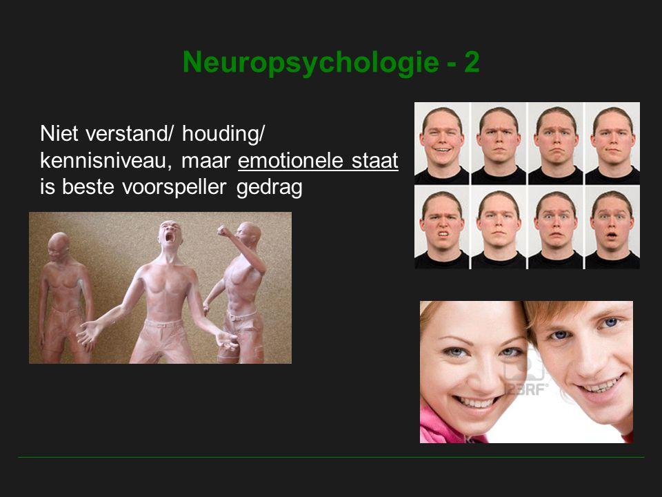 Neuropsychologie - 2 Niet verstand/ houding/ kennisniveau, maar emotionele staat is beste voorspeller gedrag.