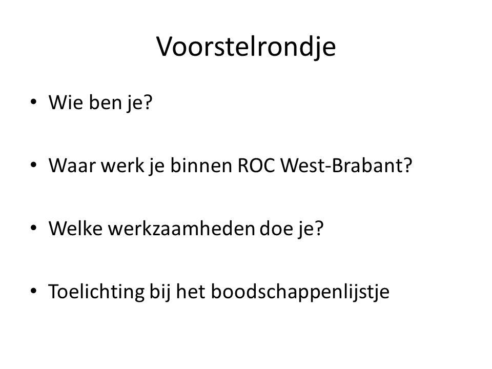 Voorstelrondje Wie ben je Waar werk je binnen ROC West-Brabant