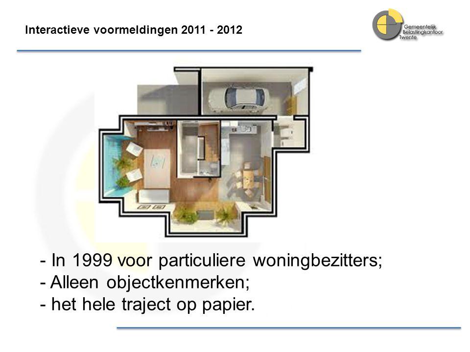 In 1999 voor particuliere woningbezitters; Alleen objectkenmerken;