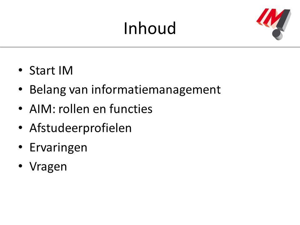 Inhoud Start IM Belang van informatiemanagement