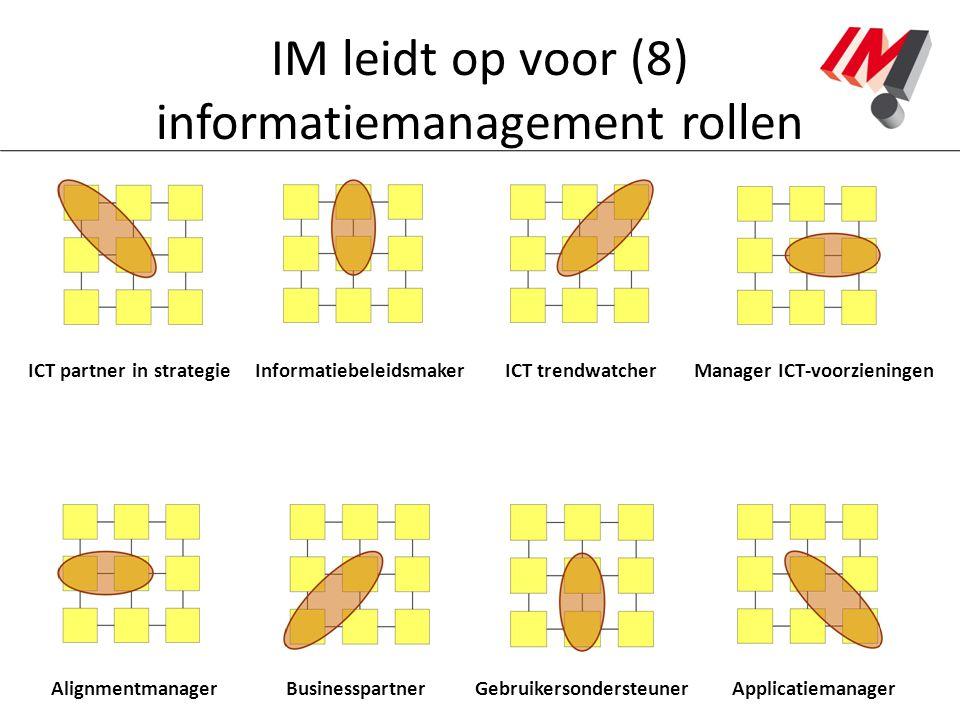 IM leidt op voor (8) informatiemanagement rollen