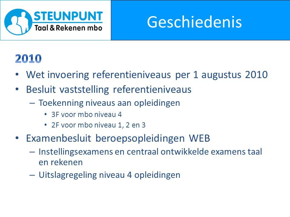 Geschiedenis 2010 Wet invoering referentieniveaus per 1 augustus 2010