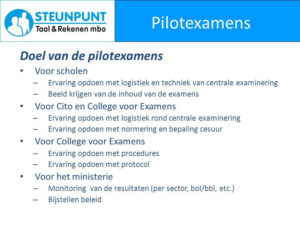 Pilotexamens Doel van de pilotexamens Voor scholen