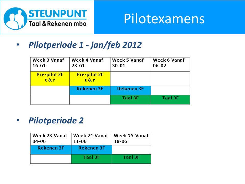 Pilotexamens Pilotperiode 1 - jan/feb 2012 Pilotperiode 2