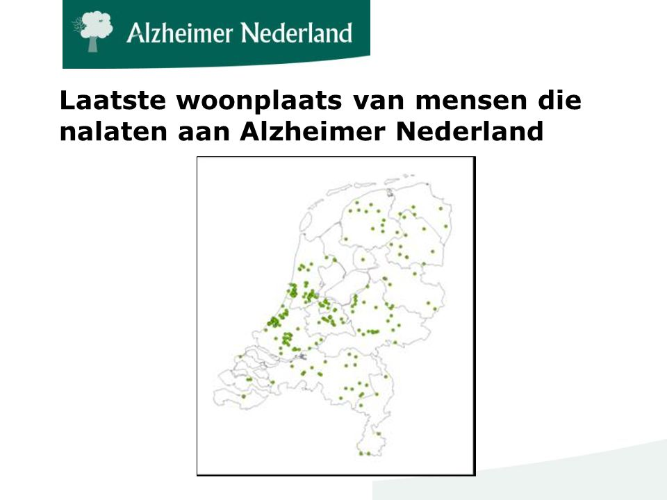 Laatste woonplaats van mensen die nalaten aan Alzheimer Nederland