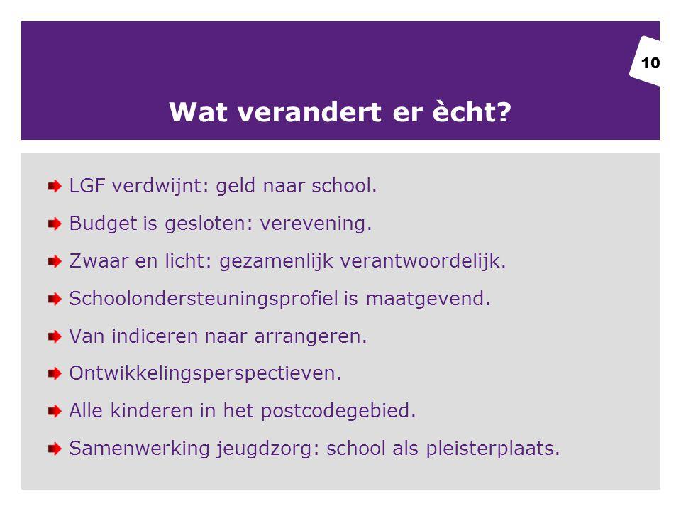Wat verandert er ècht LGF verdwijnt: geld naar school.