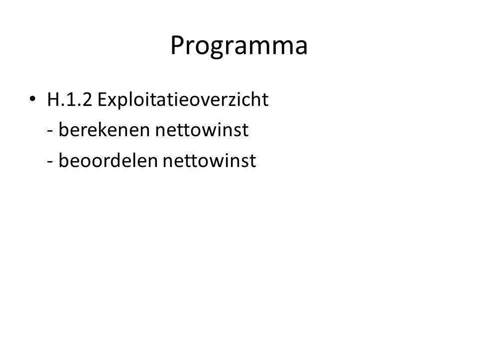 Programma H.1.2 Exploitatieoverzicht - berekenen nettowinst