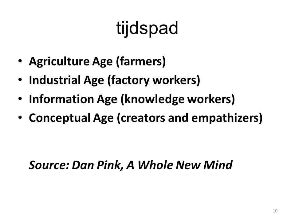 tijdspad Agriculture Age (farmers) Industrial Age (factory workers)
