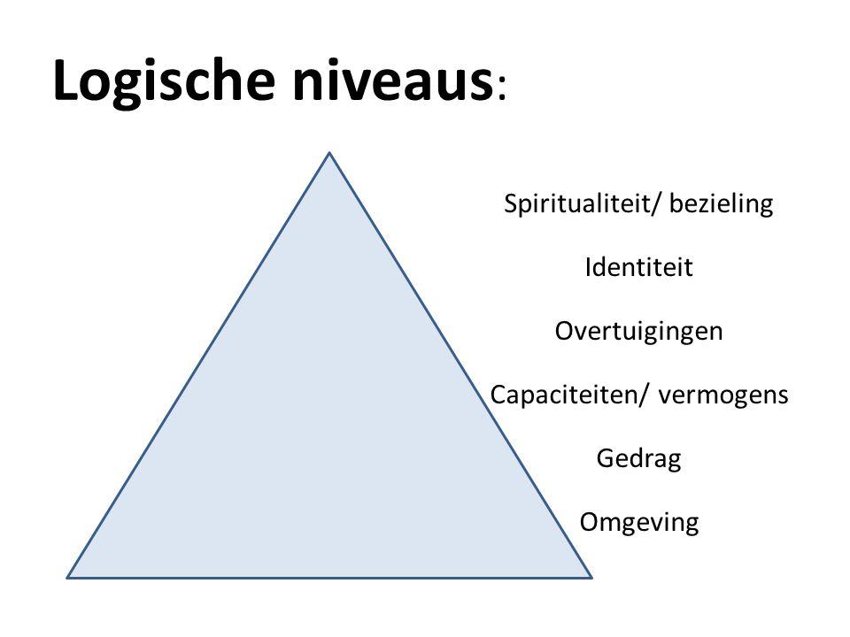 Logische niveaus: Spiritualiteit/ bezieling Identiteit Overtuigingen Capaciteiten/ vermogens Gedrag Omgeving