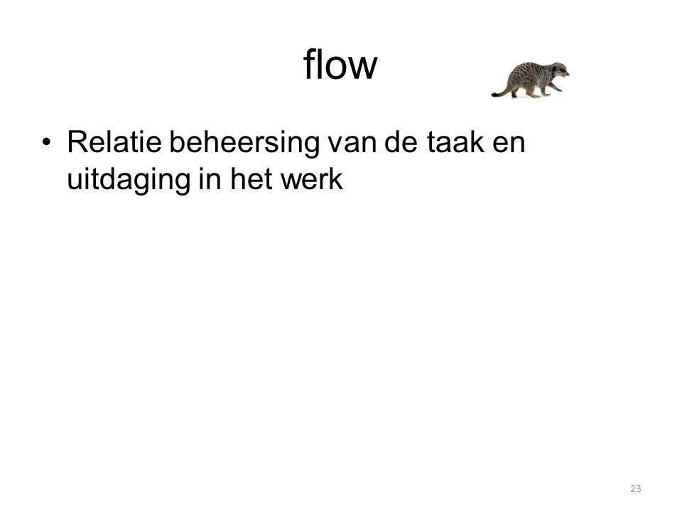 flow Relatie beheersing van de taak en uitdaging in het werk