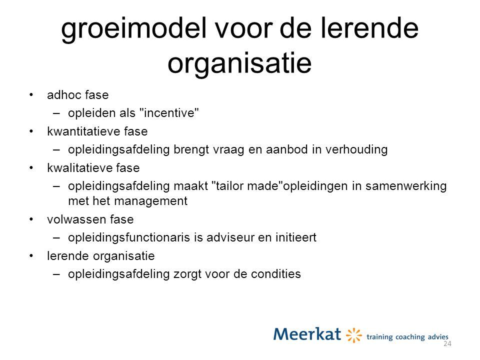 groeimodel voor de lerende organisatie