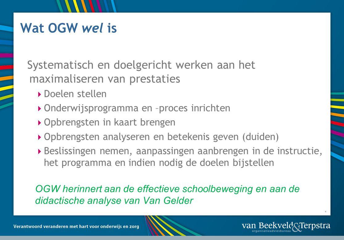 Wat OGW wel is Systematisch en doelgericht werken aan het maximaliseren van prestaties. Doelen stellen.