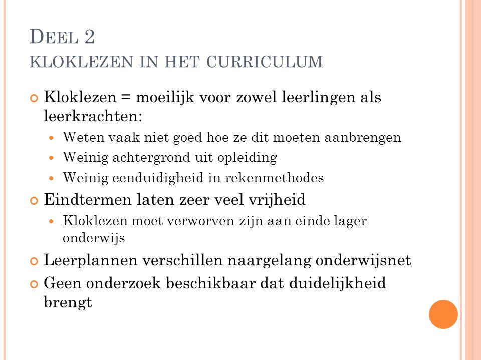 Deel 2 kloklezen in het curriculum
