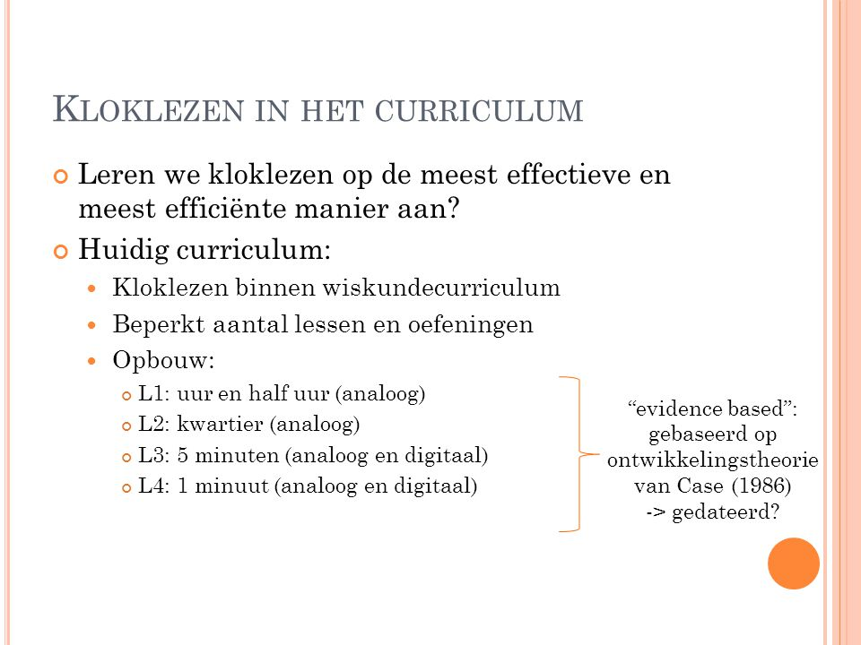 Kloklezen in het curriculum