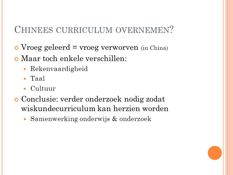 Chinees curriculum overnemen