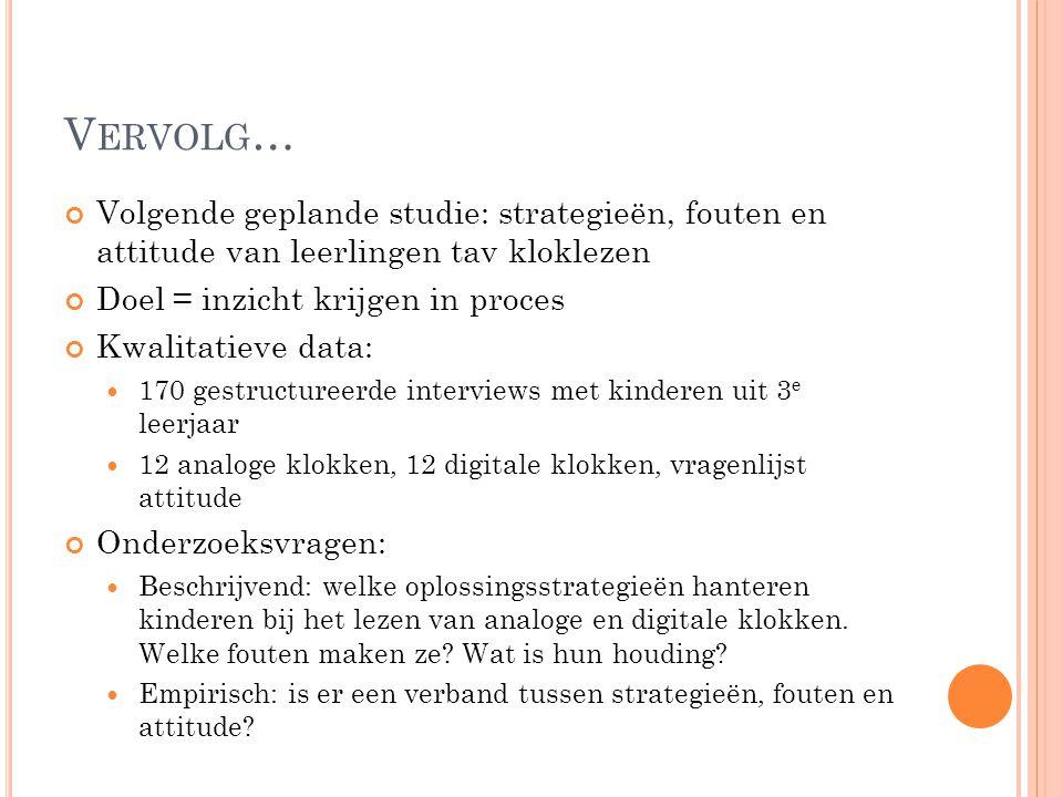 Vervolg… Volgende geplande studie: strategieën, fouten en attitude van leerlingen tav kloklezen. Doel = inzicht krijgen in proces.