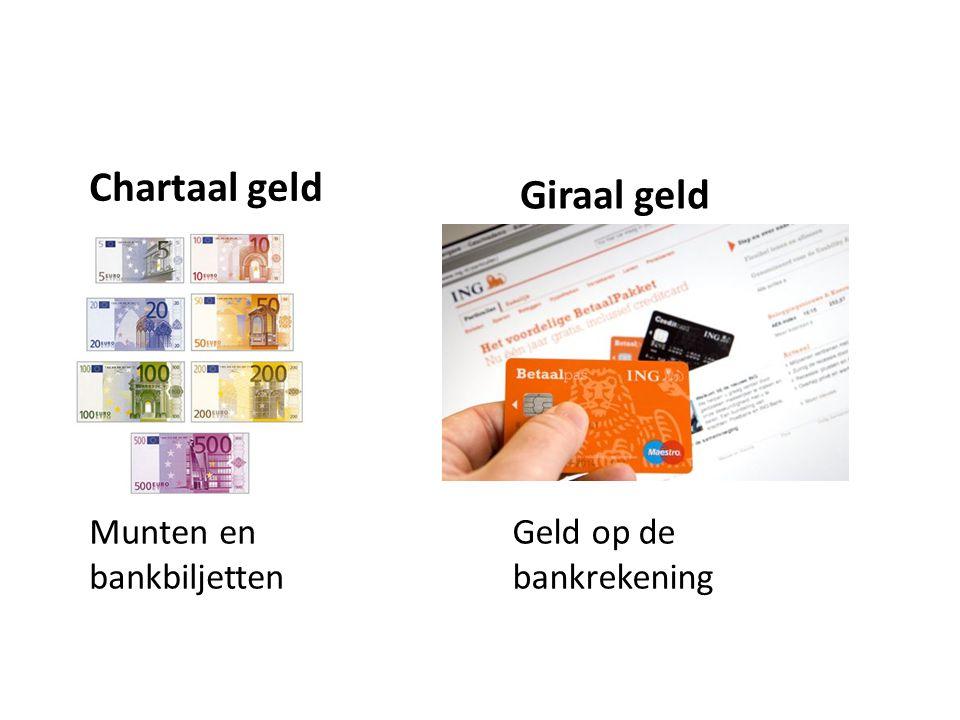 Chartaal geld Giraal geld Munten en bankbiljetten