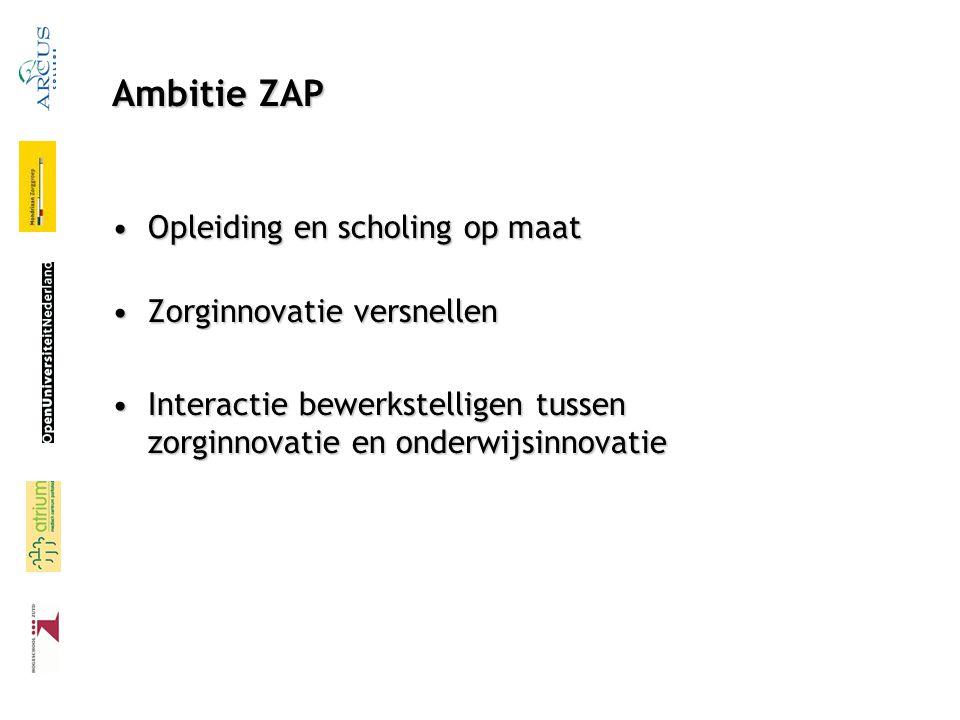 Ambitie ZAP Opleiding en scholing op maat Zorginnovatie versnellen