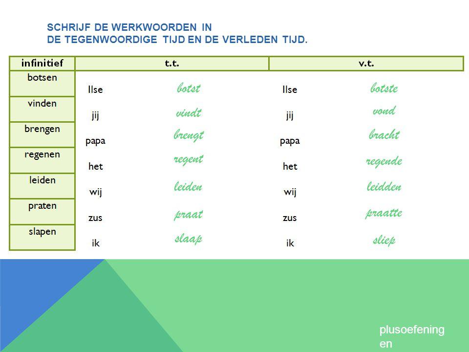 Schrijf de werkwoorden in de tegenwoordige tijd en de verleden tijd.
