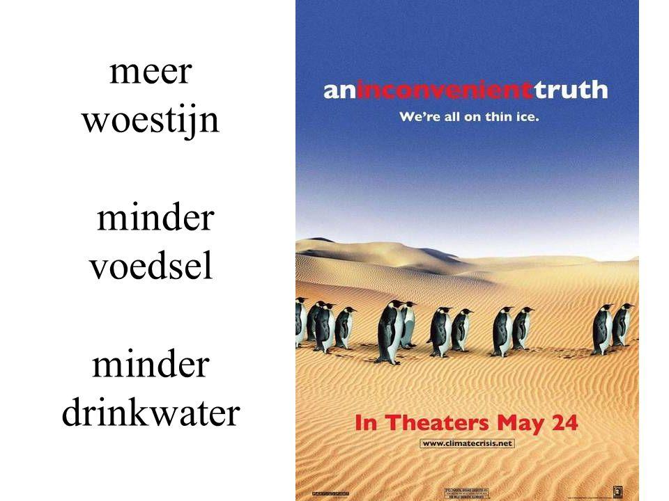 meer woestijn minder voedsel minder drinkwater
