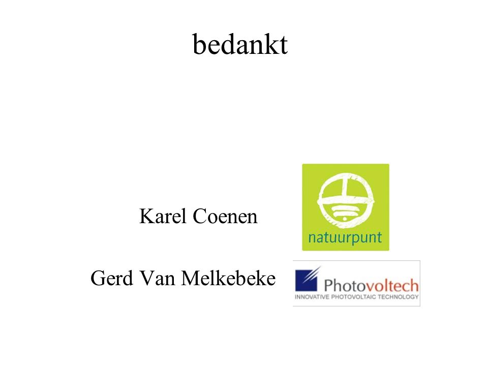 bedankt Karel Coenen Gerd Van Melkebeke