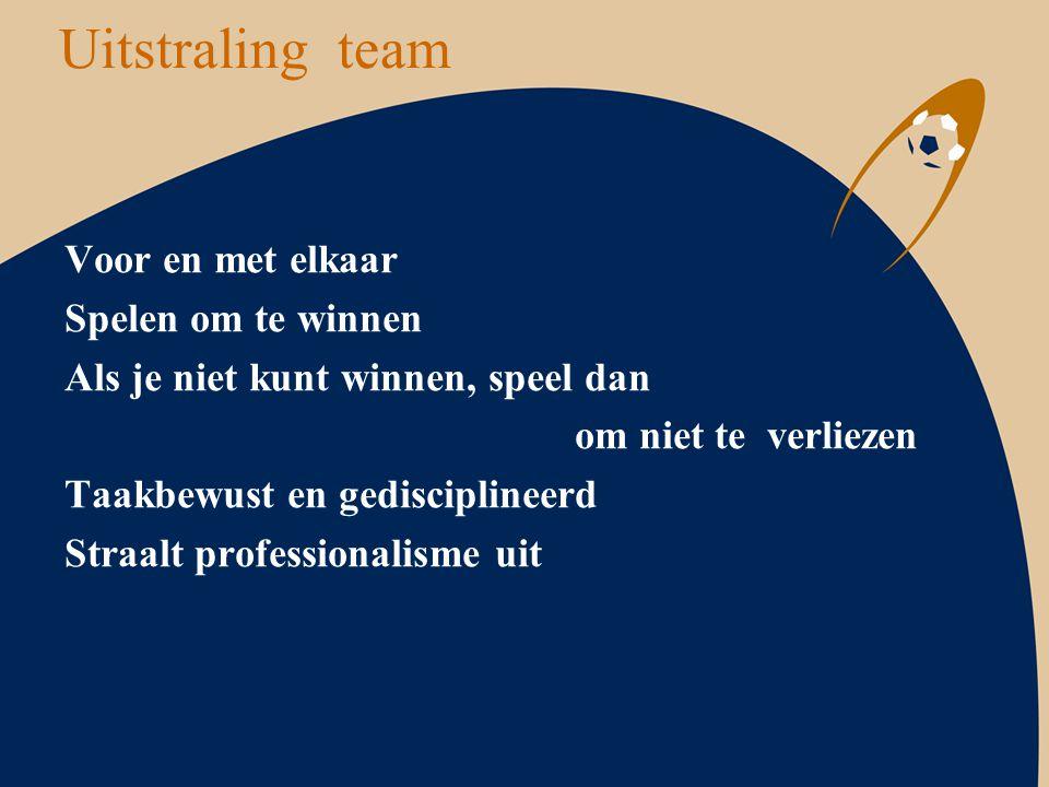 Uitstraling team Voor en met elkaar Spelen om te winnen