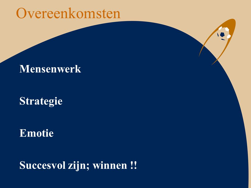 Overeenkomsten Mensenwerk Strategie Emotie Succesvol zijn; winnen !!